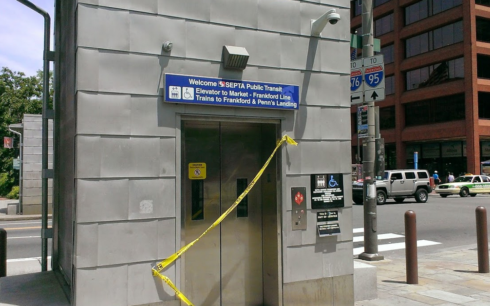 A broken elevator at 5th and Market Station - Westbound platform access