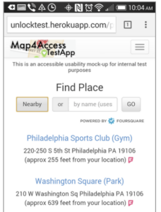 Search for place screen on Map4Access prototype