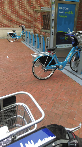 Bikes at the bike share station at 4th and Walnut