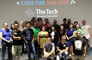 Group photo of the Code for San Jose team at the Tech Museum of Innovation in San Jose