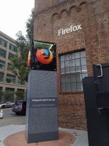 Firefox sigh outside the Mozilla HQ in San Francisco